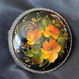Antique Russian Floral Lacquer & Sterling Brooch